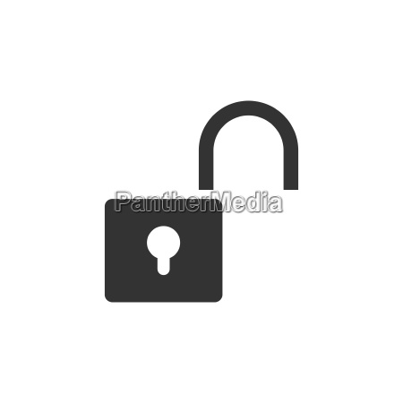 unlock icon on white background