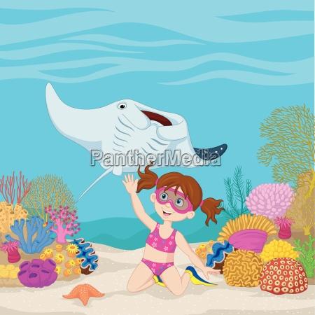 cartone animato bambina immersioni in mare