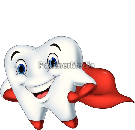 dente divertente in posa fumetto cartone