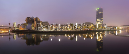 panoramic view of illuminated buildings in