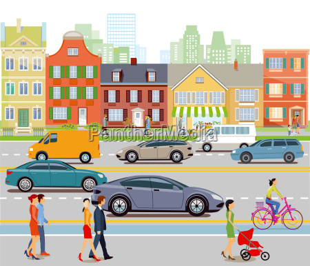citta con traffico automobilistico e pedoniillustrazione