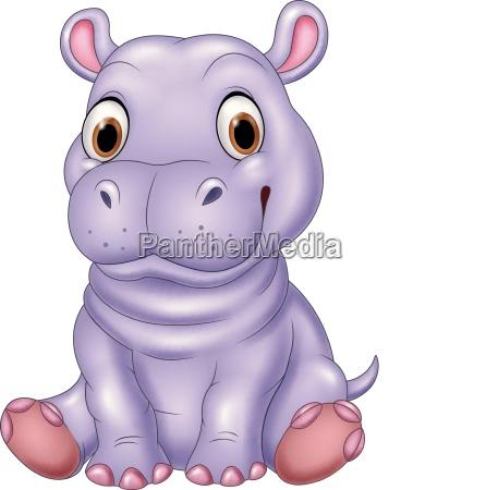 cartoon divertente bambino ippopotamo seduta