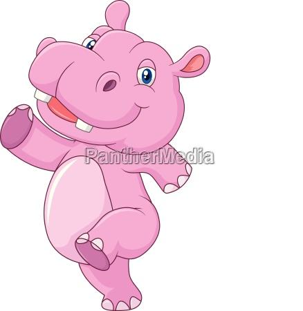 cartone animato carino bambino hippo in