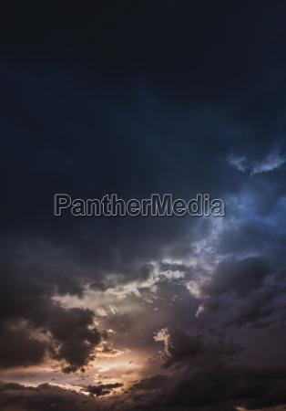 austria hoersching dark clouds after thunderstorm