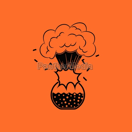 icon explosion of chemistry flask