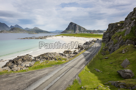 road on the sand beach at