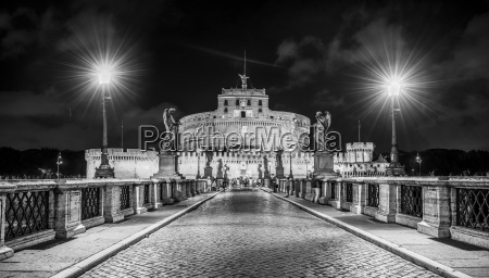 statua ponte di notte notte fotografia
