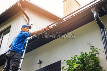 blu casa costruzione mano foglia foglie