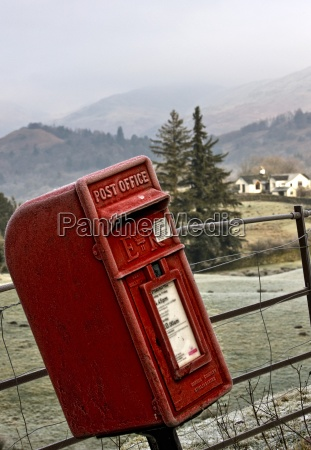 mailbox and rural landscape cumbria england