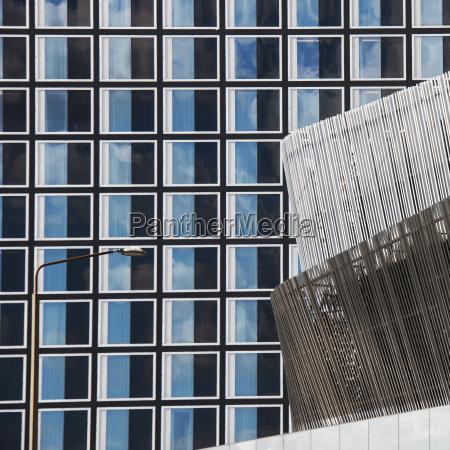 blu bicchiere costruzione dettaglio moderno finestra
