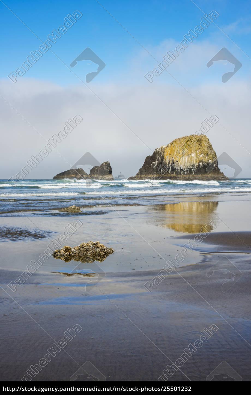 riflessioni, catturate, su, una, spiaggia, umida; - 25501232