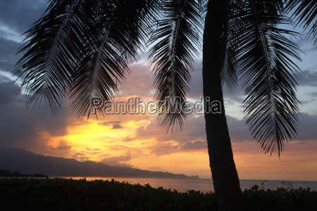 sunset on the north shore of