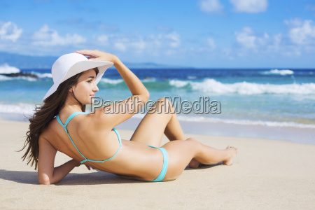 beach vacation beautiful young woman in