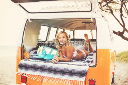 beach lifestyle beautiful surfer girl relaxing