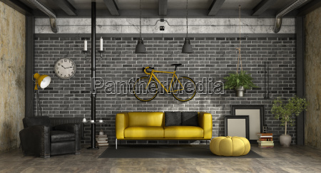 black and yellow living room in