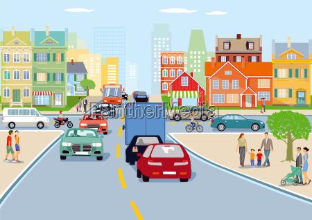promozione spedizione traffico grattacielo trasporto illustrazione