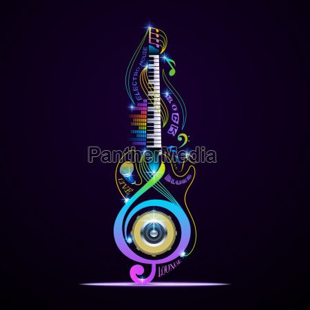 musical instruments collage for rock jazz