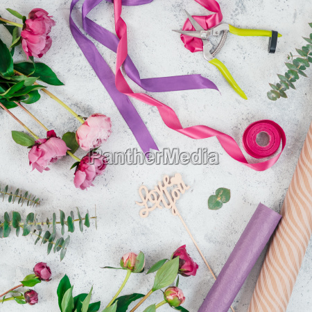 floristic flat lay with flowers copy