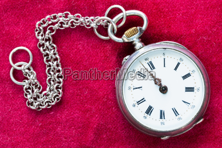 retro silver pocket watch with chain
