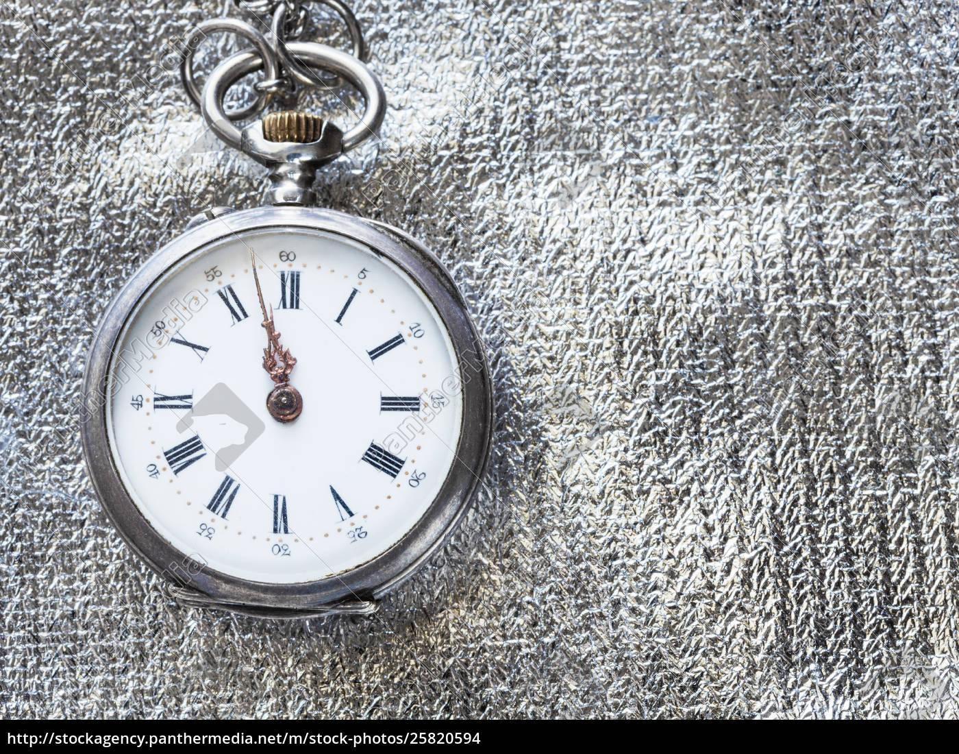 retro, pocket, watch, on, silver, textile - 25820594