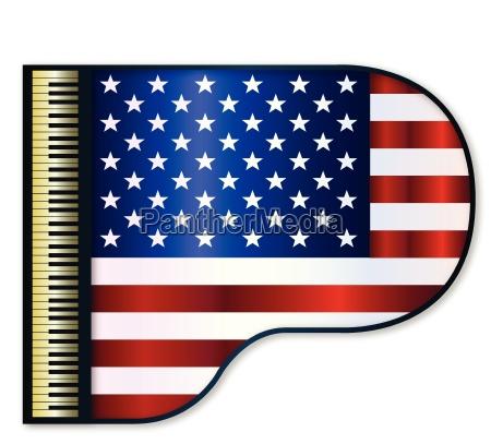 grand piano usa flag