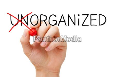 concetto organizzato non organizzato
