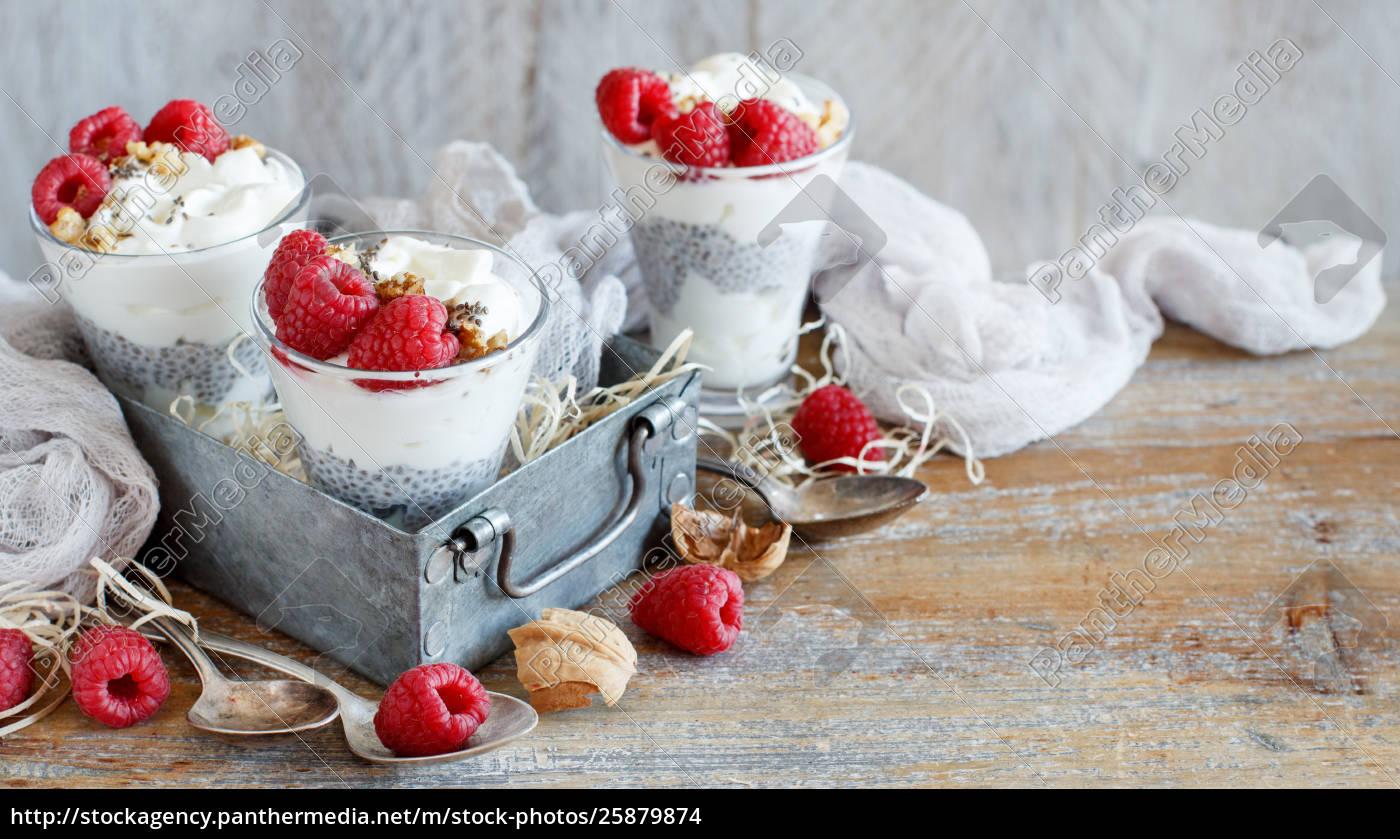 semifreddo, al, lampone, e, yogurt, chia - 25879874