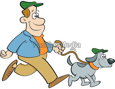 cartoon illustration of a man walking