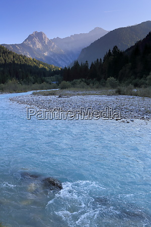 natural cold river in mountain landscape