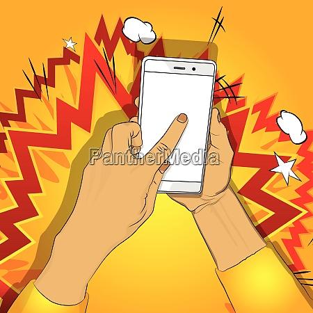 mano tiene smart phone con schermo