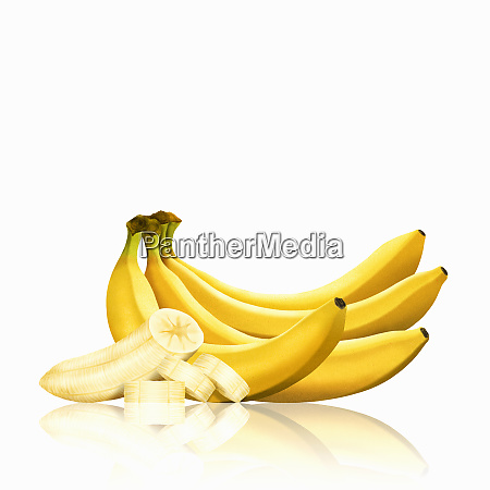 mazzo di banane e fette di