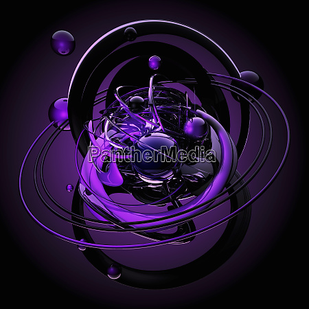purple spheres orbiting in chaotic pattern