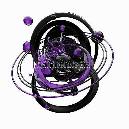 purple and black spheres orbiting in