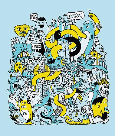 doodle di mostri e creature