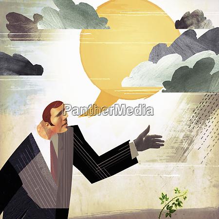 businessman previsione miglioramento con fumetto del