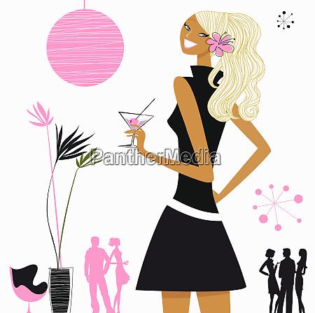 woman having a martini in lounge