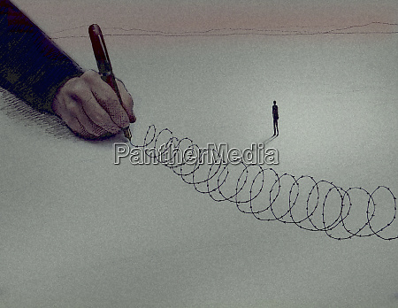 large hand drawing barbed wire around