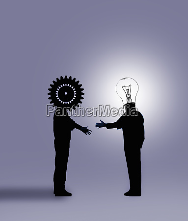 cog businessman shaking hands with light