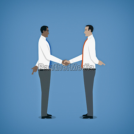 hypocritical businessmen shaking hands hiding crossed