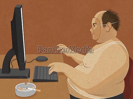 sovrappeso incolti uomo di mezza eta