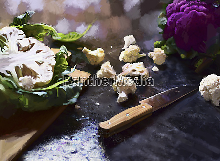 whole halved and pieces of cauliflower