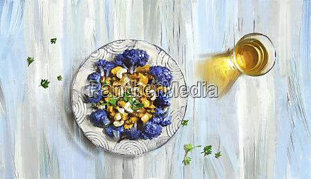 cavolfiore viola e anacardi al curry