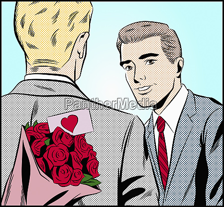 gay man with bouquet of roses