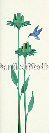 green city buildings on flower stems