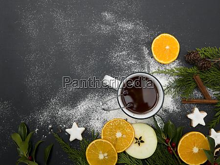 natale te pugno arancia bevanda sfondo