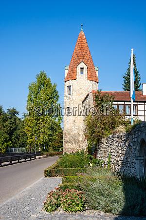 historic city gate tower of abensberg