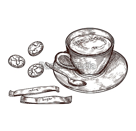 hand drawn set cup of hot