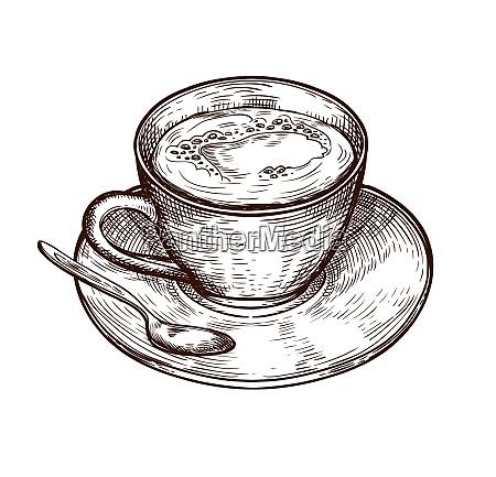 tazza caffe panna piattino schizzo cucchiaio