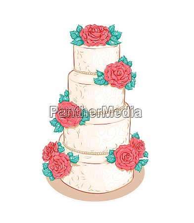 white layered wedding cake with flowers