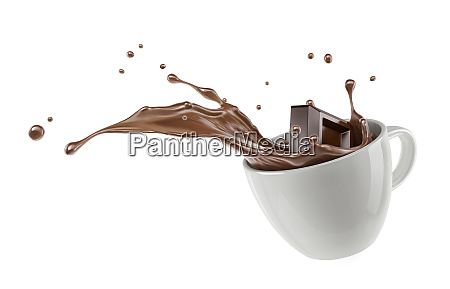 chocolate cube splashing into a white